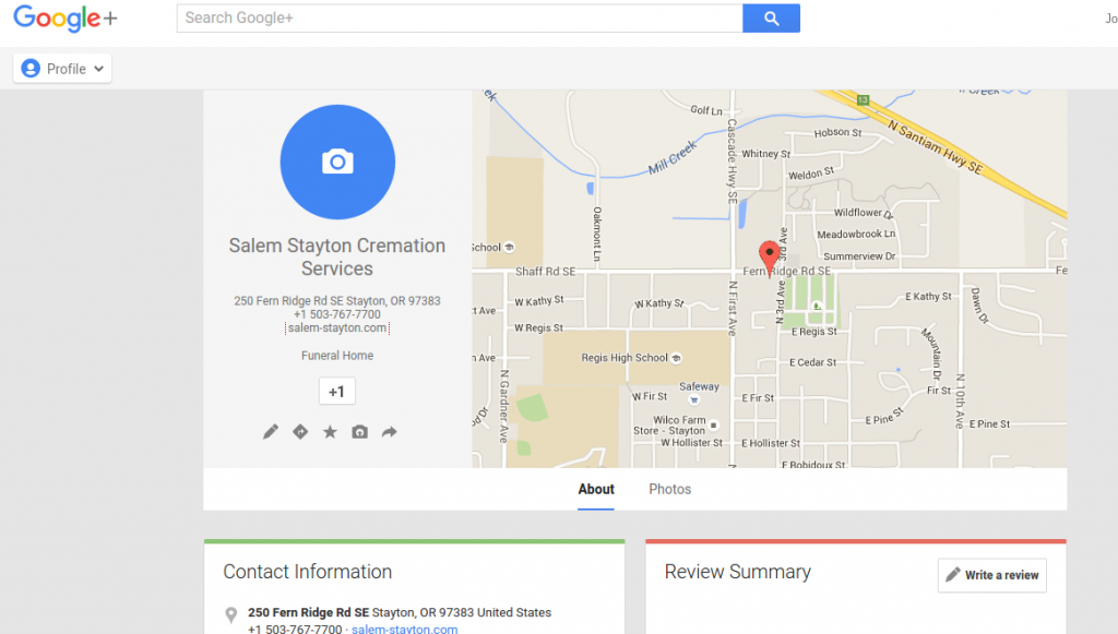 Unverified Google Maps page - matters for ranking.