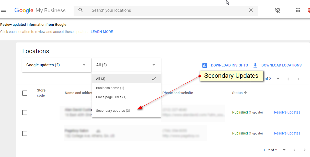 Location Groups & Secondary Updates Launch for Google My