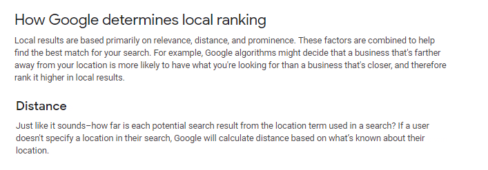 Google Proximity Ranking Explanation