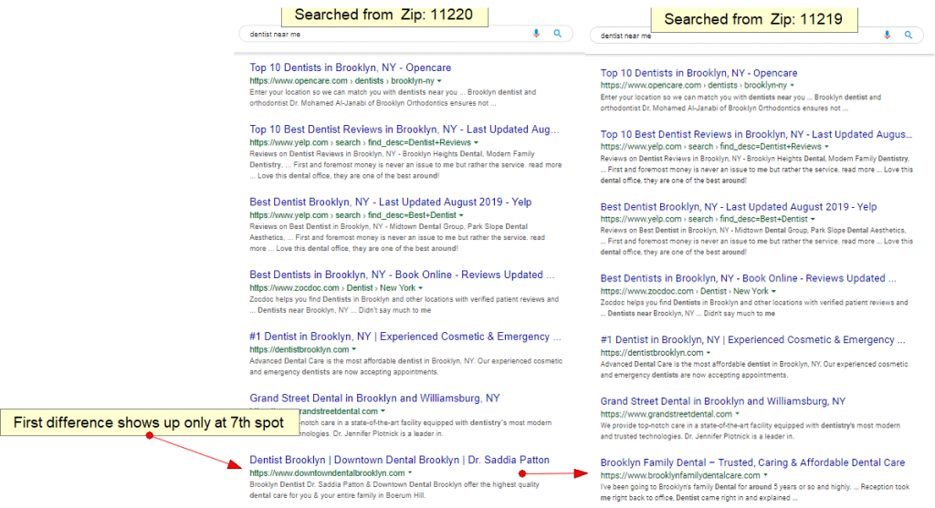 Organic Search Proximity Result