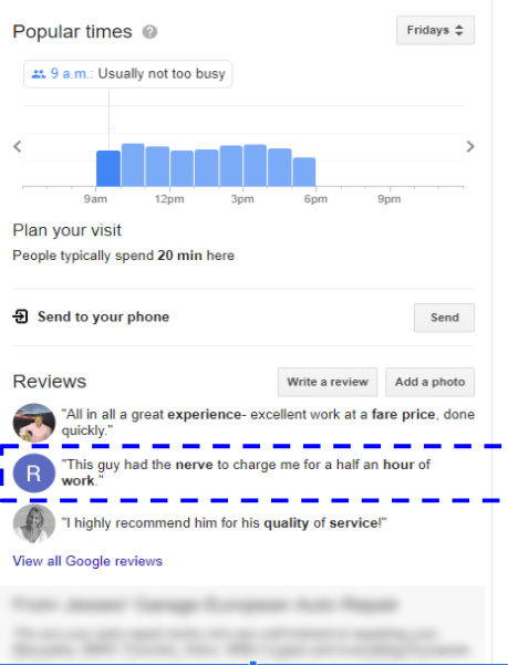 negative review in knowledge panel