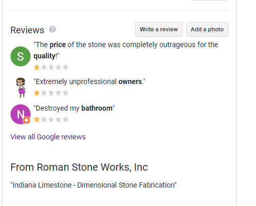 Reviews in Knowledge Panel